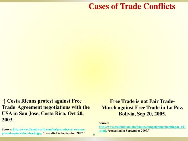 Cases of Trade Conflicts