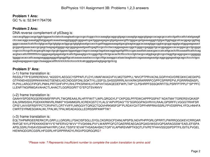 Biophysics 101 assignment 3b problems 1 2 3 answers