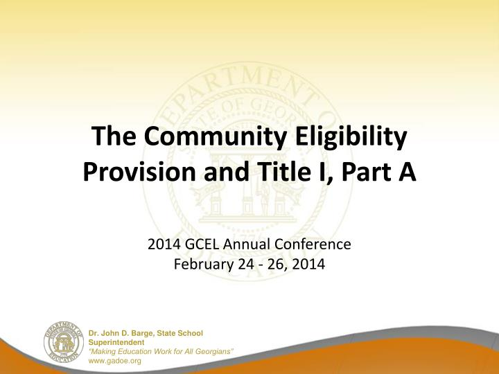 the community eligibility provision and title i part a n.