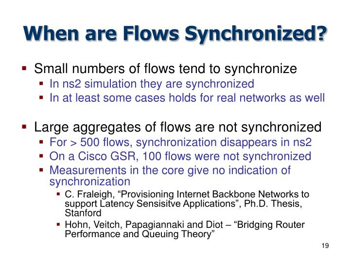 When are Flows Synchronized?
