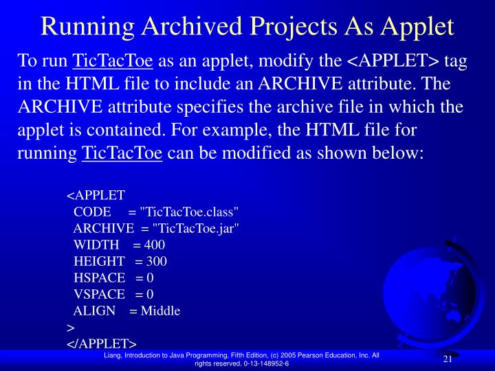 Running Archived Projects As Applet