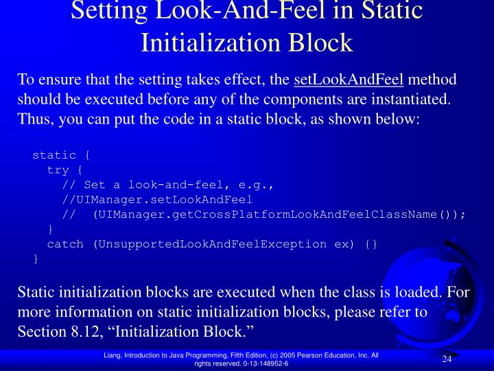 Setting Look-And-Feel in Static Initialization Block
