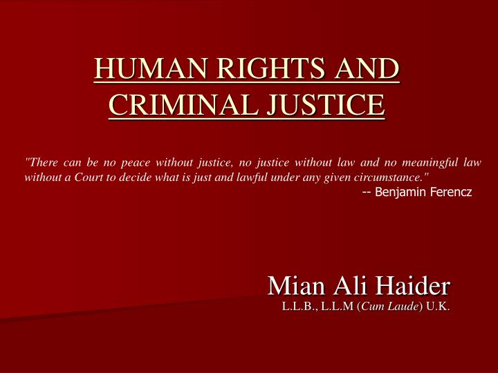 human rights and criminal justice n.