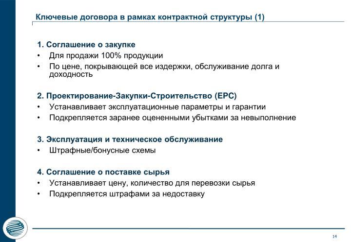 Ключевые договора в рамках контрактной структуры (1)