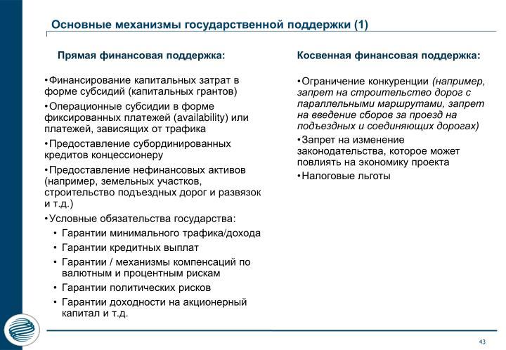 Основные механизмы государственной поддержки (1)