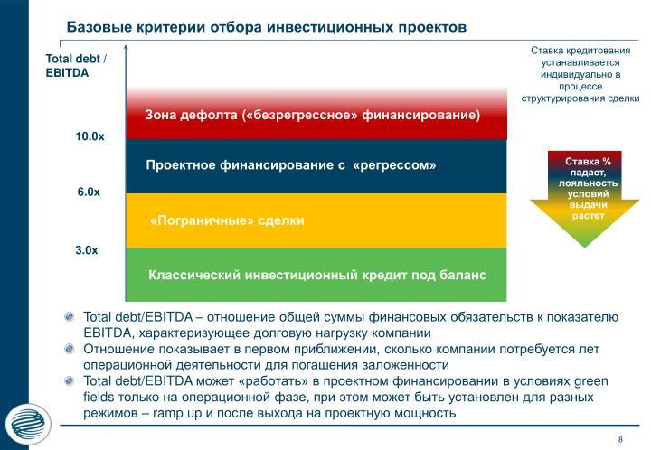 Базовые критерии отбора инвестиционных проектов