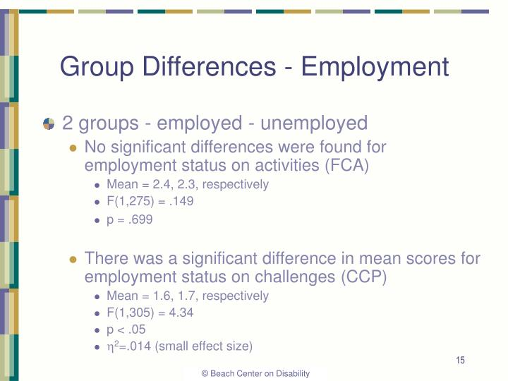 Group Differences - Employment