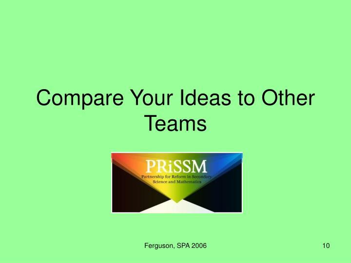 Compare Your Ideas to Other Teams
