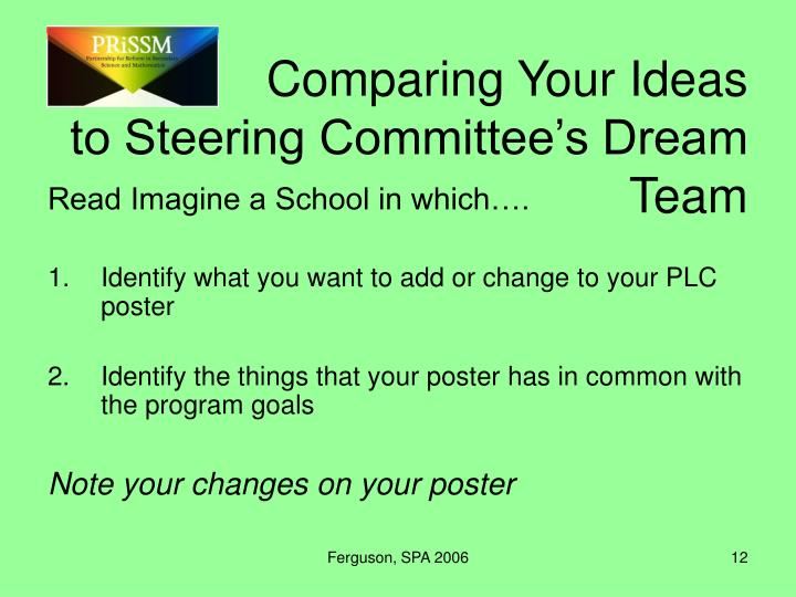 Comparing Your Ideas to Steering Committee's Dream Team