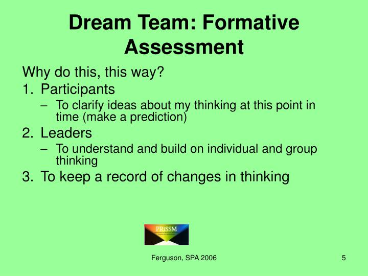 Dream Team: Formative Assessment