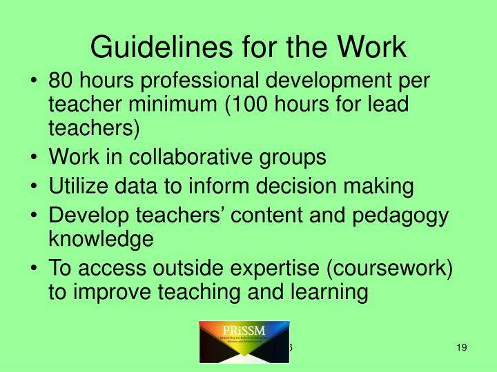 Guidelines for the Work