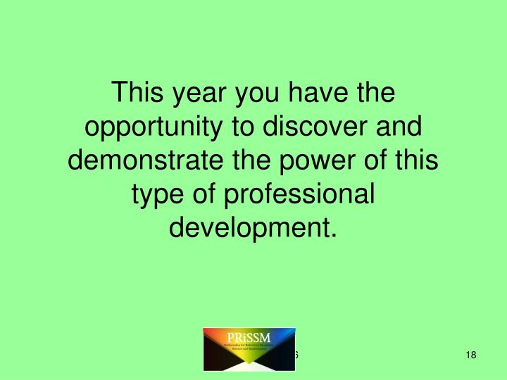 This year you have the opportunity to discover and demonstrate the power of this type of professional development.