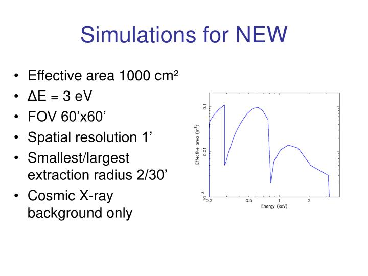 Simulations for NEW