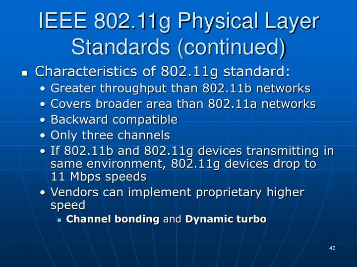 IEEE 802.11g Physical Layer Standards (continued)
