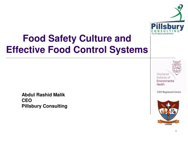 food safety culture and effective food control systems n.