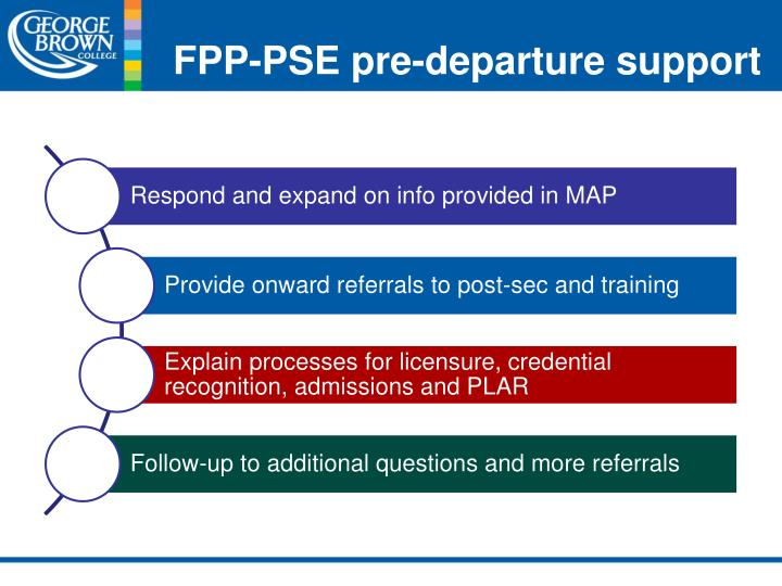 FPP-PSE pre-departure support
