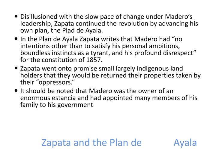 Zapata and the Plan de		 Ayala