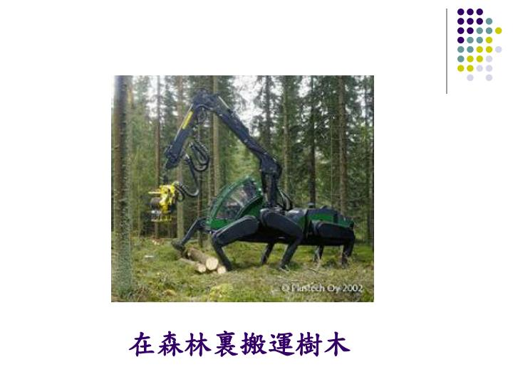 在森林裏搬運樹木