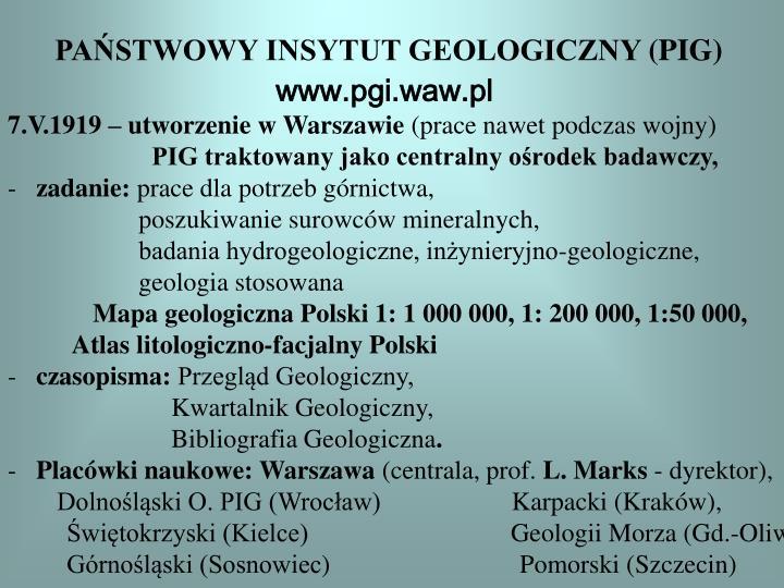 PAŃSTWOWY INSYTUT GEOLOGICZNY