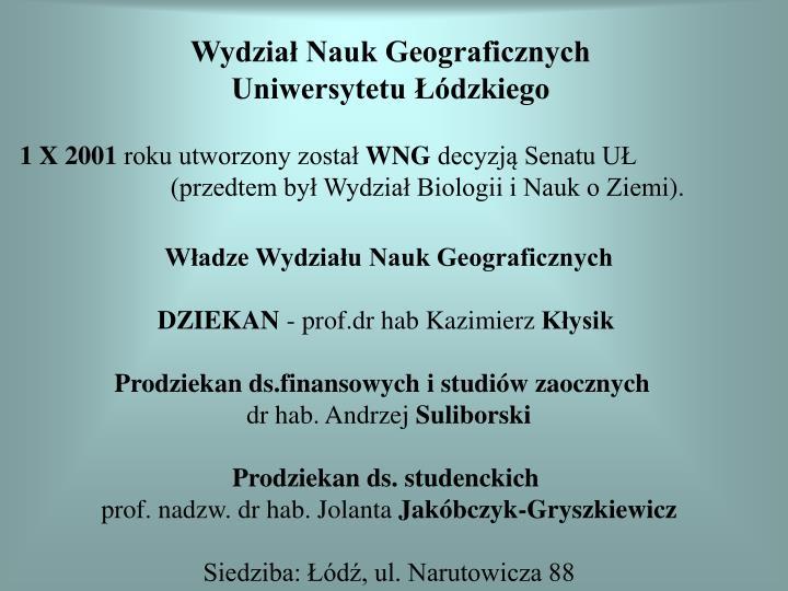 Wydzia nauk geograficznych uniwersytetu dzkiego