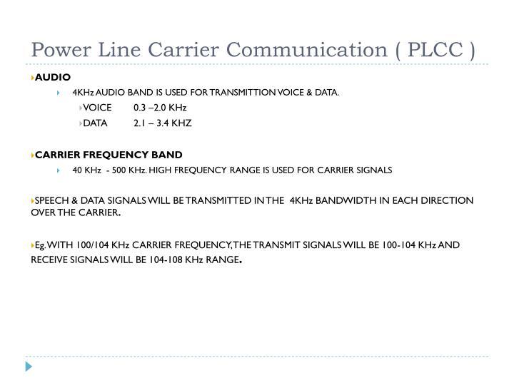 Power Line Carrier Communication ( PLCC )