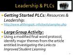 leadership plcs