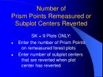 number of prism points remeasured or subplot centers reverted