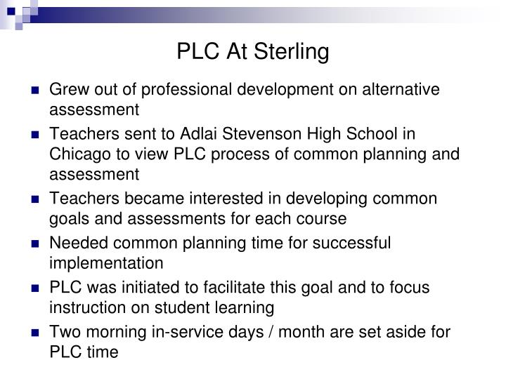 PLC At Sterling