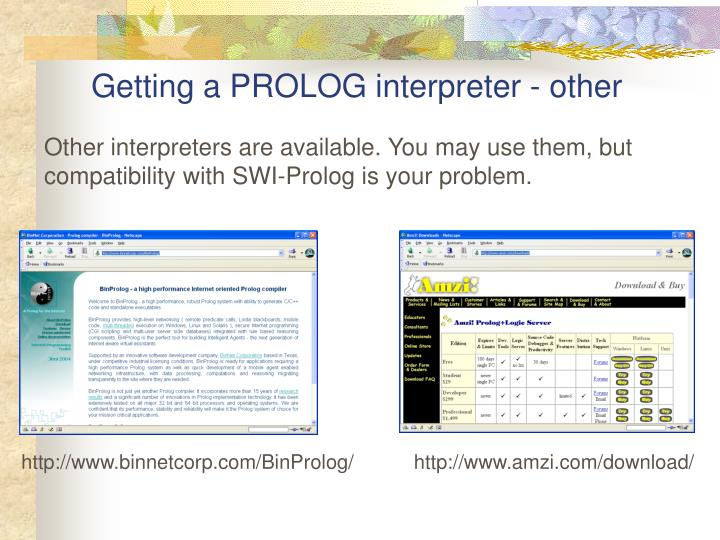 Getting a PROLOG interpreter - other