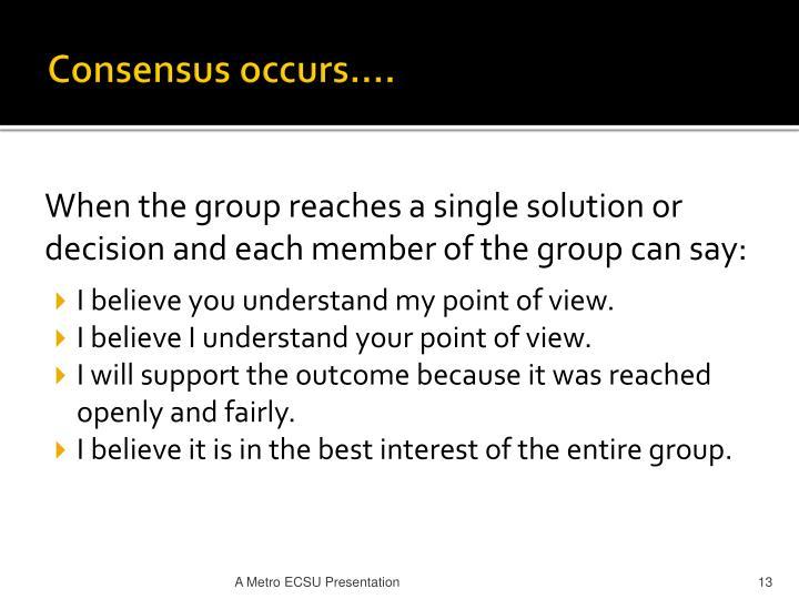 Consensus occurs….