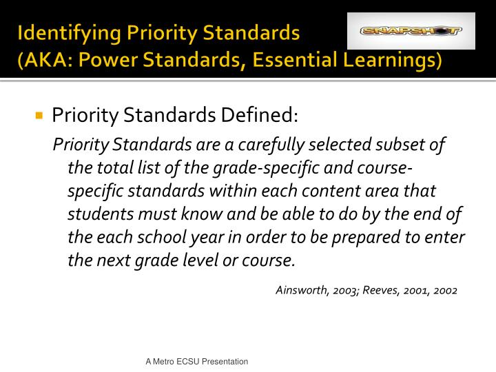 Identifying Priority Standards