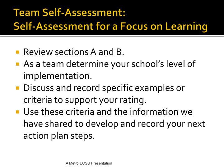 Team Self-Assessment: