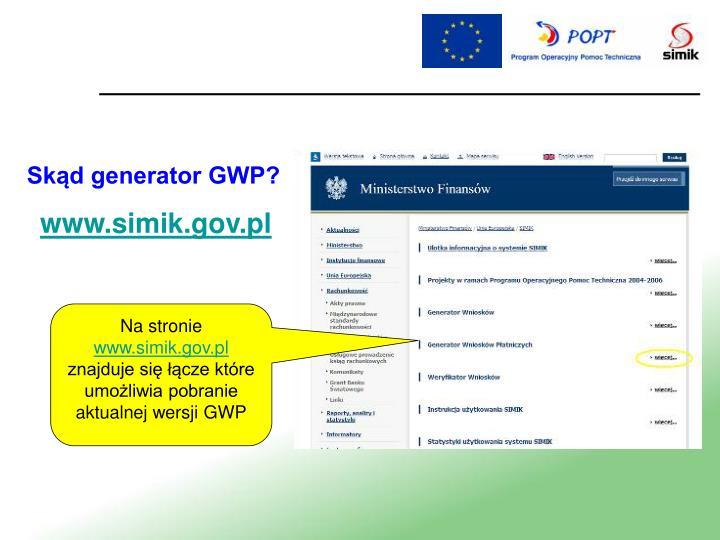 Skąd generator GWP?