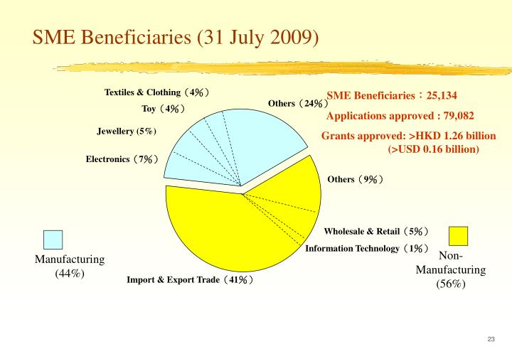 SME Beneficiaries (31 July 2009)