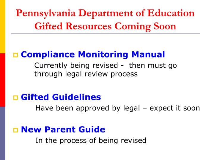 Pennsylvania department of education gifted resources coming soon1