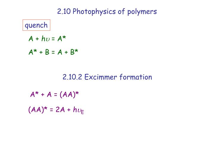 2.10 Photophysics of polymers