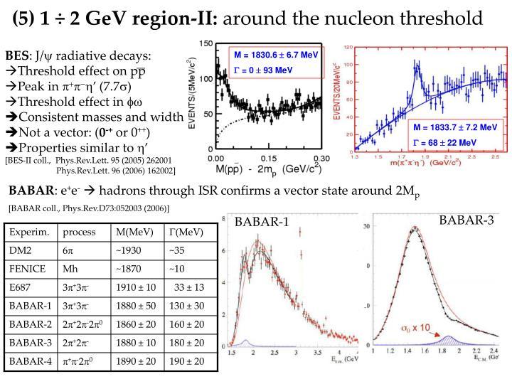 (5) 1 ÷ 2 GeV region-II: