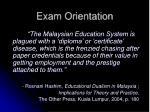 exam orientation