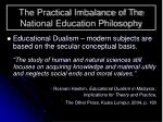 the practical imbalance of the national education philosophy