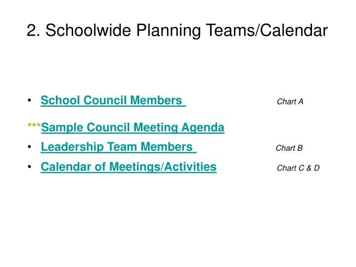 2. Schoolwide Planning Teams/Calendar