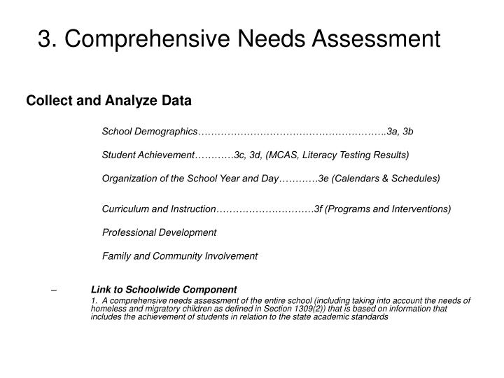 3. Comprehensive Needs Assessment