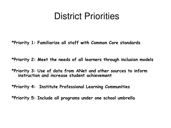 District Priorities