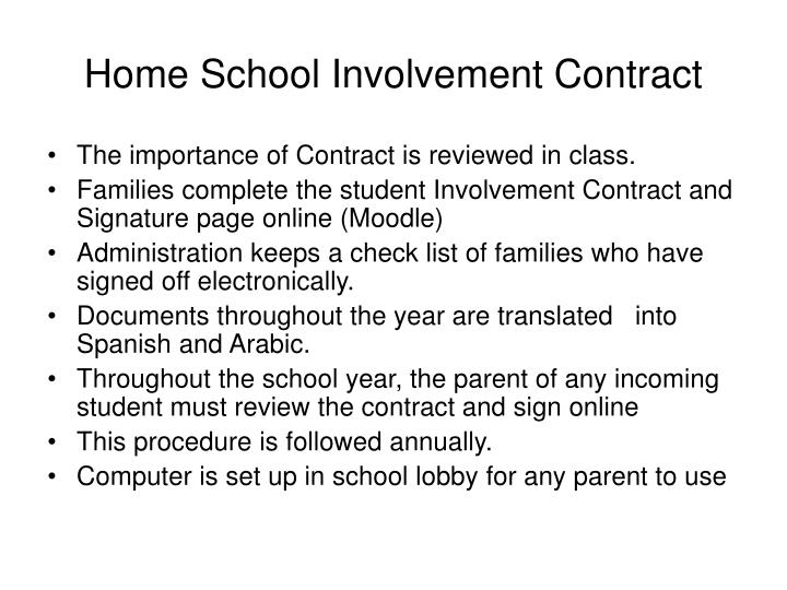 Home School Involvement Contract