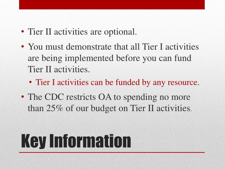 Tier II activities are optional.