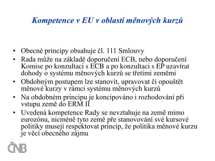 Kompetence v EU v oblasti měnových kurzů