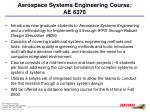 aerospace systems engineering course ae 6370