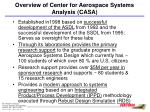 overview of center for aerospace systems analysis casa
