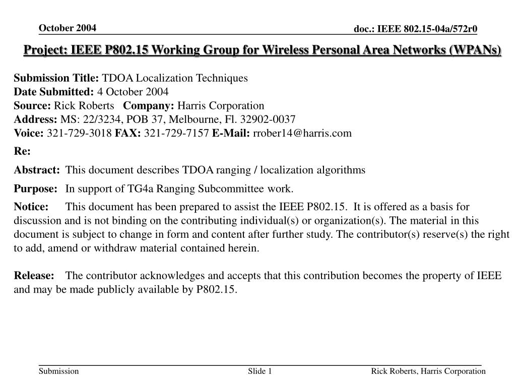 PPT - Project: IEEE P802 15 Working Group for Wireless Personal Area