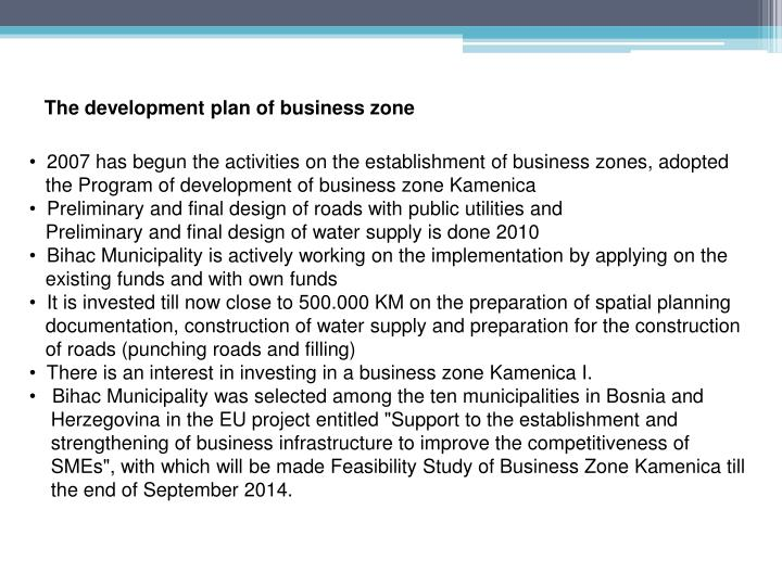 The development plan of business zone