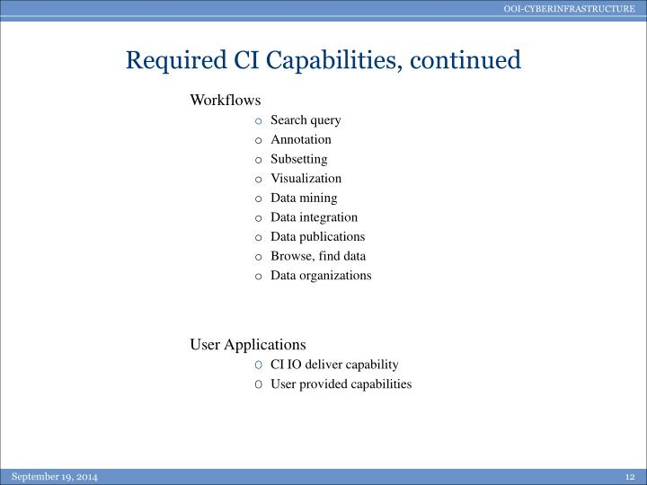 Required CI Capabilities, continued